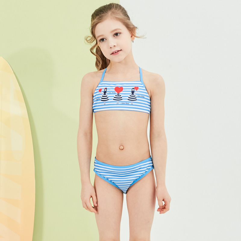 2019 Cross Border For New Style Hot Sales Split Type Bikini Bathing Suit Stripes Heart Girls Baby Girls KID'S Swimwear