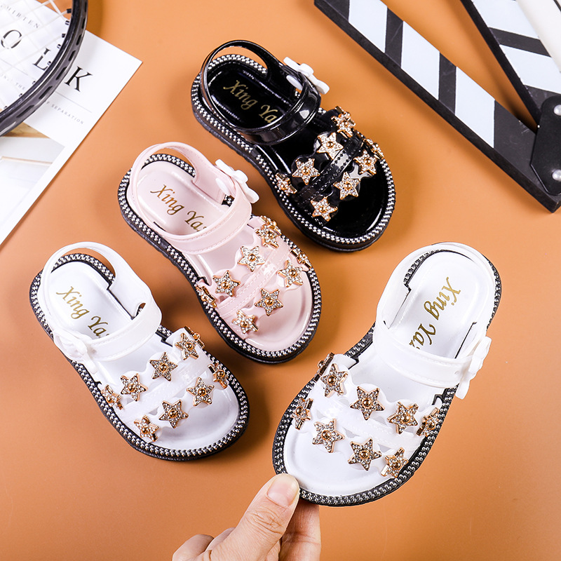 2020 New Summer Girls Sandals Korean Style Little Princess Soft Bottom Beach Shoes 2-8 Yrs Baby Sandals Five-pointed Star D03052
