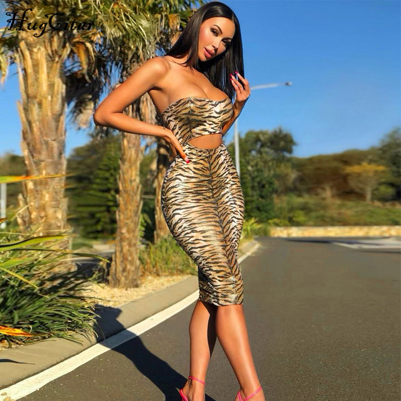 Hugcitar 2019 Tube Slash Neck Sexy Hollow Out Tiger Print Midi Dress Autumn Winter Women Streetwear Club Bodycon Outfits