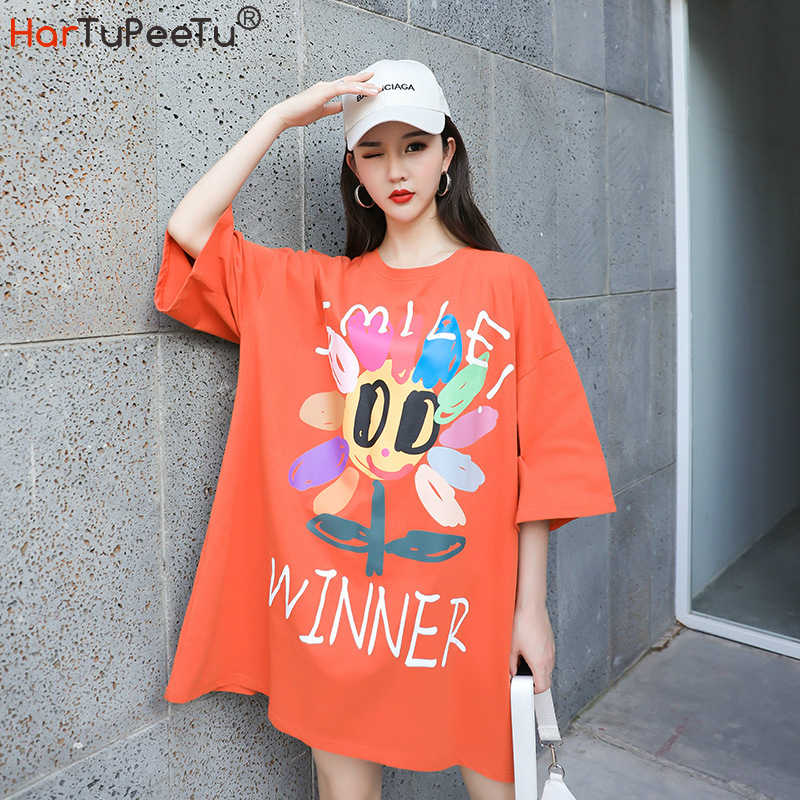 Korean Style Oversized T Shirt Dress Women Colourful Daisy Print 2020 Summer Orange Long Tshirt Loose Casual Simple Top for Girl