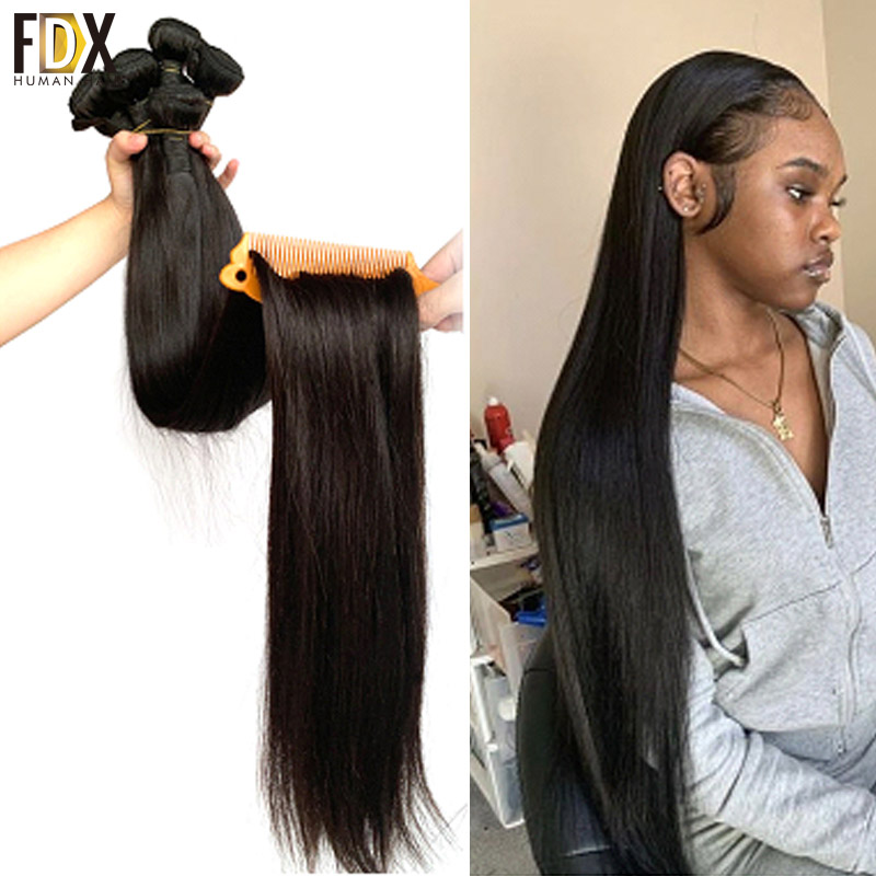FDX Hair-Weave-Bundles Silky Natural-Color Straight Brazilian 36-38-40inch 100%Remy 34