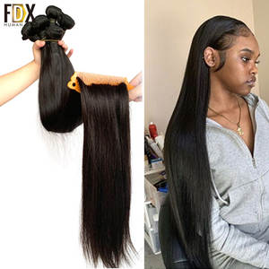 Hair-Weave-Bundles Natural-Color Straight Brazilian 36-38-40inch FDX 34 30-32 Silky 100%Remy