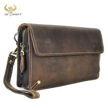 """جودة الجلود موضة الذكور منظم محفظة تصميم سلسلة سستة محفظة جيب محفظة حقيبة صغيرة 7 """"اللوحي الهاتف المحمول الرجال 5160 d"""