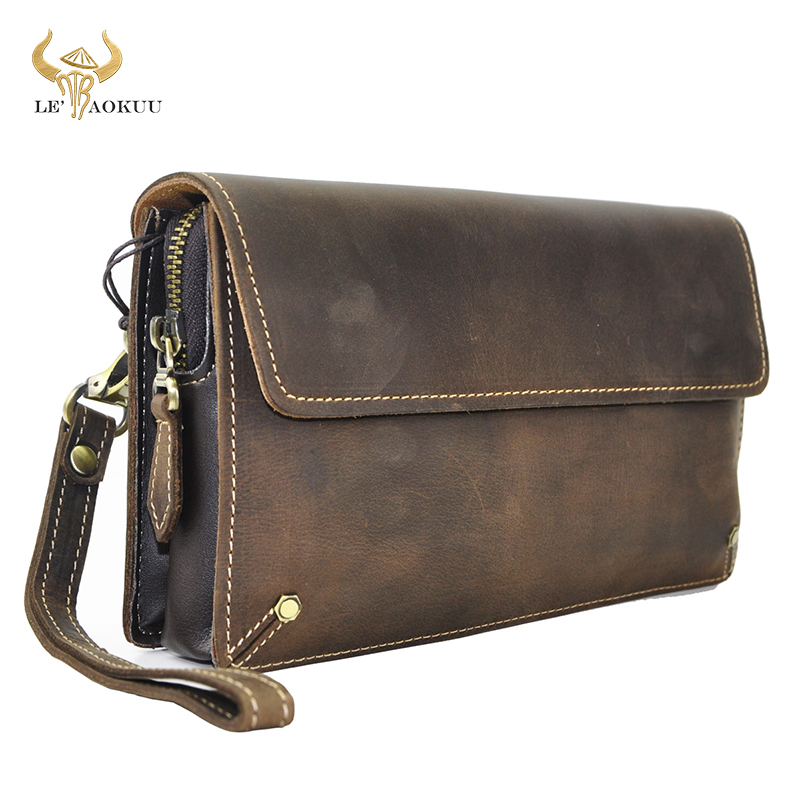 Quality Leather Fashion Male Organizer Wallet Design Chain Zipper Pocket Wallet Purse Clutch bag 7
