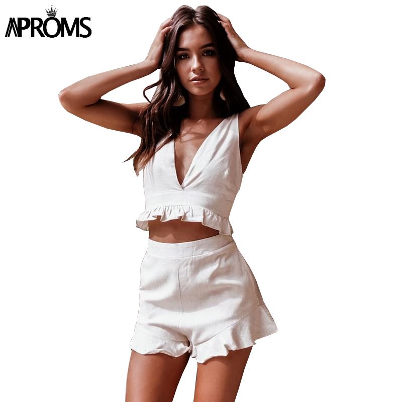 Aproms Ruffle Cotton 2 Piece Set Women Sexy White Crop Top And Shorts Summer Fashion Holiday Beach High Waist Slim Shorts 2020