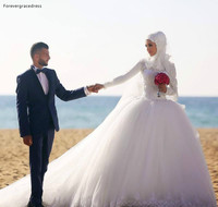 2019 Vintage Arabic Dubai Princess Wedding Dress Puffy Muslim Long Sleeves Lace Church Formal Bride Bridal Gown Plus Size