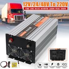 Инвертор 12 В 220 в 5000 Вт Мощность Чистая синусоида Инвертор Чистая синусоида светодиодный дисплей 12 В/24/48/DC до 220 В AC конвертер