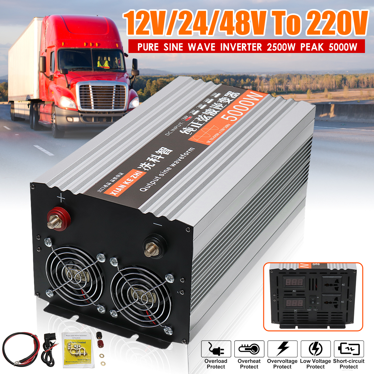 <font><b>Inverter</b></font> 12V <font><b>220V</b></font> 5000W Power Rein Sinus Solar Power <font><b>Inverter</b></font> Reine Sinus Welle Led-anzeige 12 /<font><b>24</b></font>/48/V DC Zu <font><b>220V</b></font> AC Converter image