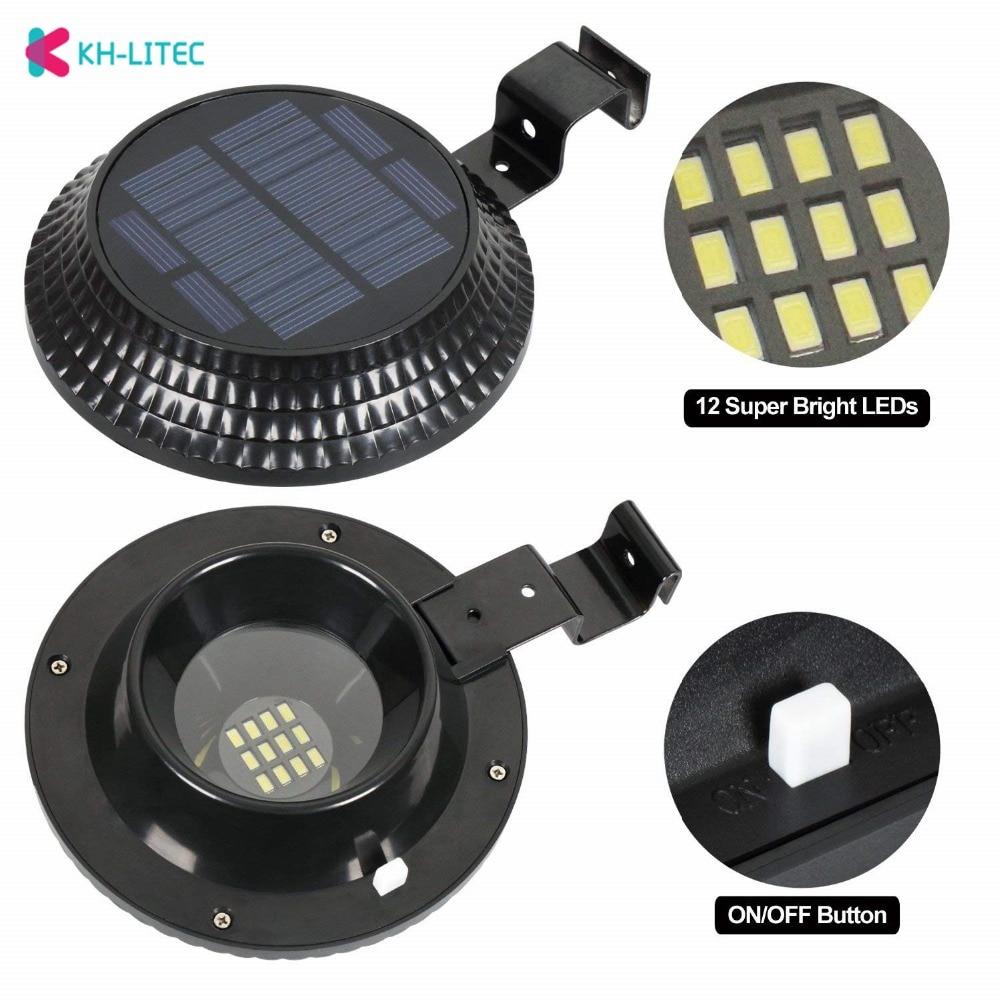 KHLITEC 12 LED Solar Lamp Garden Gutter Light Waterproof Solar Powered LED Solar Light Street Light Lamps For Outdoor Lighting