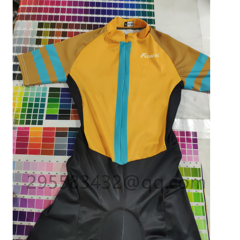 Pro team frenesi female short sleeved jumpsuit custom sportswear triathlon suit riding suit breathable gel pal maillot ciclicmo in Cycling Sets from Sports Entertainment