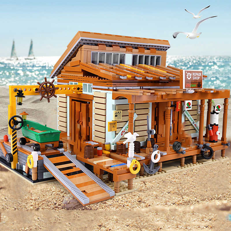 Antiguo pescador, bloques de construcción, Creator Expert Technic City, estación de reparación de barcos de pesca callejera, ladrillos de diseño, regalo para niños
