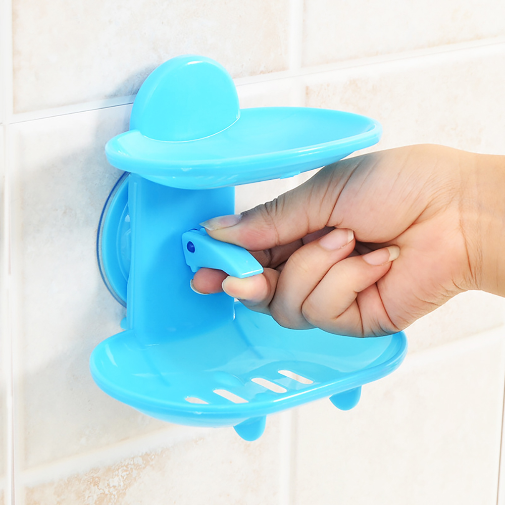 Double Layers Drain Soap Box Kitchen Tools Bathroom Accessories Soap Dish Suction Holder Storage Basket Soap Box Stand