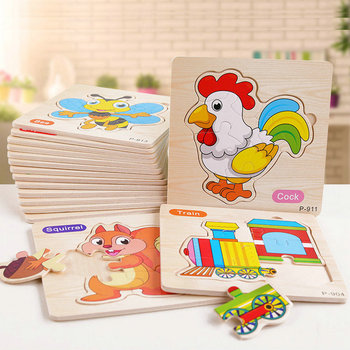 3D Wooden Puzzle Jigsaw Toys For Children Sharp Matching Animal Puzzles Intelligence Kids Early Educational Toys for children 1