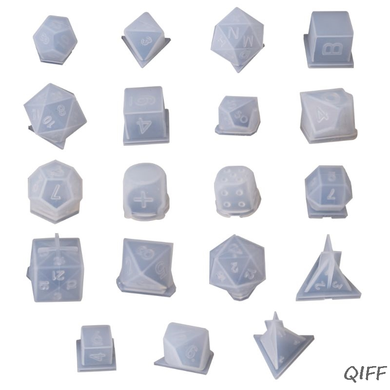 DIY Crystal Epoxy Mold Dice Fillet Shape Multi-spec Digital Game Silicone Mould