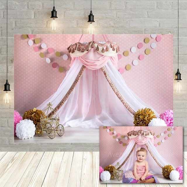 Avezano Princess House Tent Photography Background Pink Polka Dots Flower Girl Birthday Portrait Backdrop Photo Studio Photocall