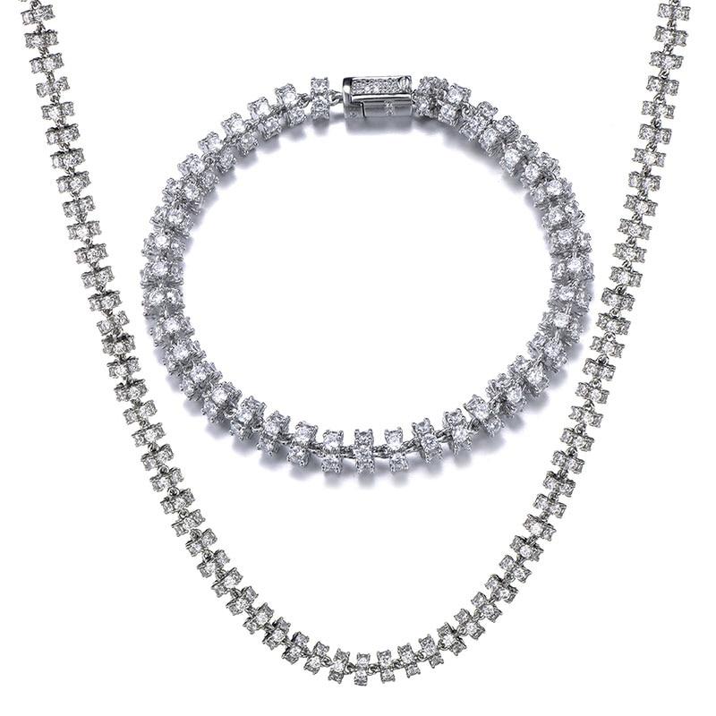 6MM ensemble Bling AAA CZ zircon cubique glacé rond lien chaîne collier Bracelet pour hommes Hip Hop rappeur bijoux 18 ''-24'' - 4