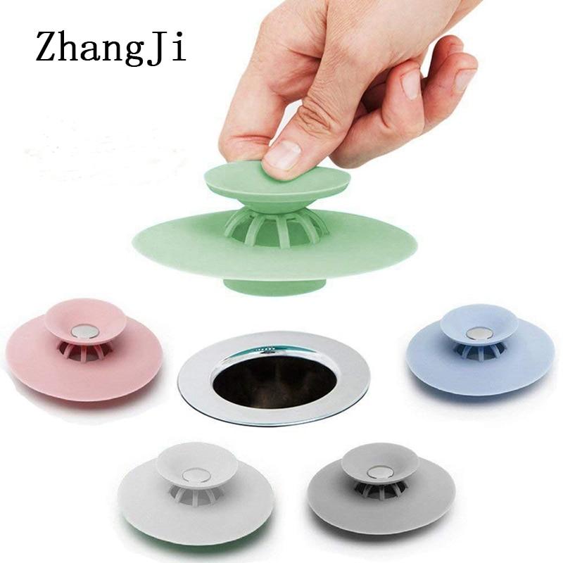 ZhangJi Silicone Floor Drain Hair Catcher Sink Plug Strainer Stopper Household Basin Bathtub Supplies Kitchen Accessories