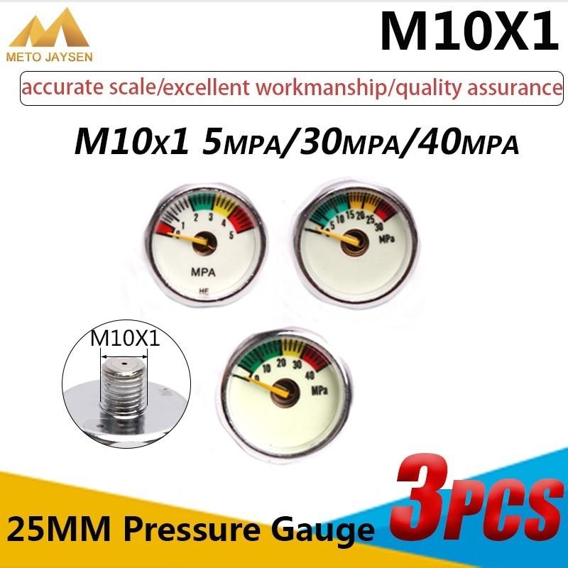 M10x1 1 Inch Manometre High Pressure Gauge 25mm PCP Paintball Airforce Pump Scuba Diving Valve Gauge 5mpa 30mpa 40mpa 3pcs/set