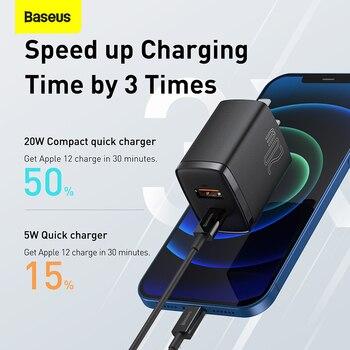 Сетевое зарядное устройство Baseus с двумя USB-портами и поддержкой быстрой зарядки, 20 Вт 3