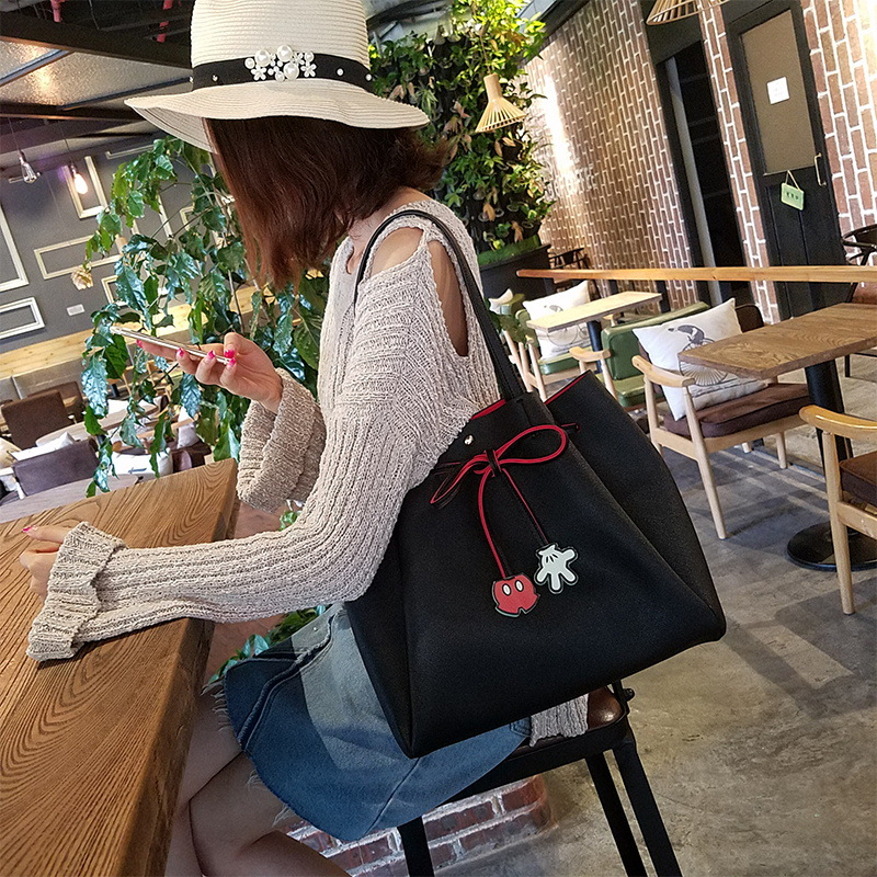 Disney Mickey Mouse Lady Fashion Bag Shoulder PU Clothing Accessories Doll Handbag High Capacity Leisure Drawstring Satchel