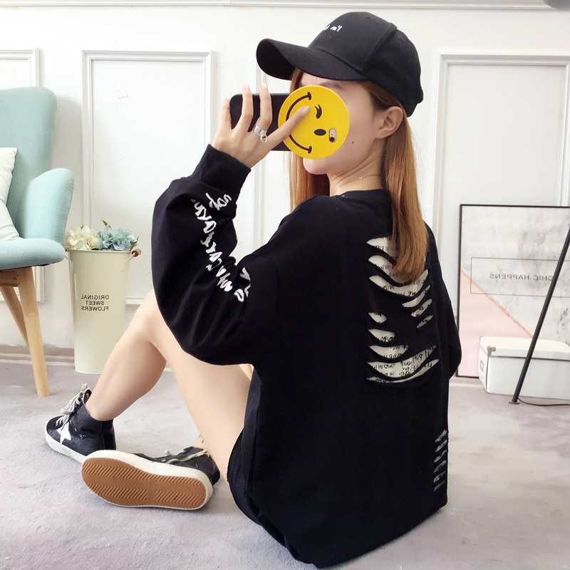 2019 autumn new Korean version of the XL T-shirt women's thin section long-sleeved loose hole wild T-shirt shirt women 87