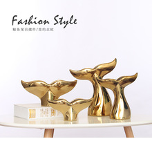 Ceramic Crafts Golden Whale Tail Simple Nordic Home Living Room Decoration TV Cabinet Painting Vase Decoration Gift
