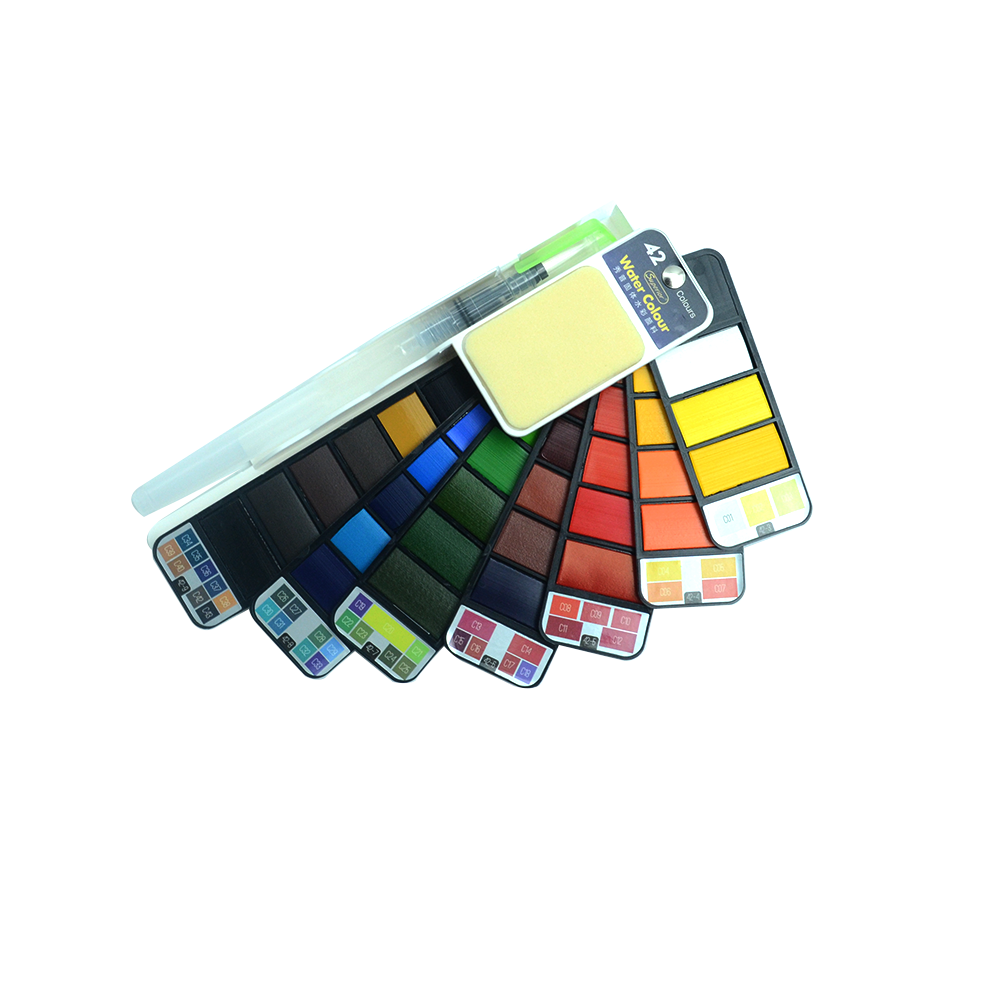 Watercolor Brush Painting Set 18 25 33 42 Colors Drawing Watercolor Palette Box Portable Brush Sketching Painting Supplies