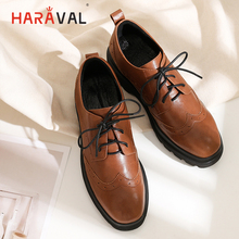 цены HARAVAL 2019 Spring Summer Autumn Winter Women Flat shoes sheepskin Lace-up Fashion Elegant Shoes Women Casual Lady Shoes P62