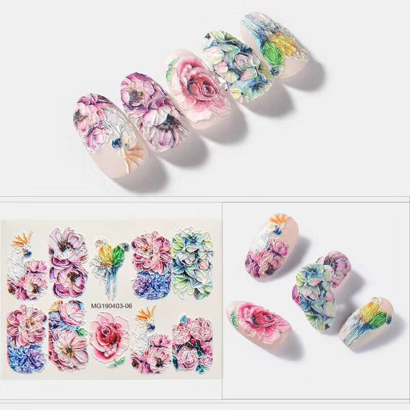 Diy6D Stereo Relief Nail Sticker Seemless Nail Sticker Flower Series Three Wholesale Manufacturers Direct Selling