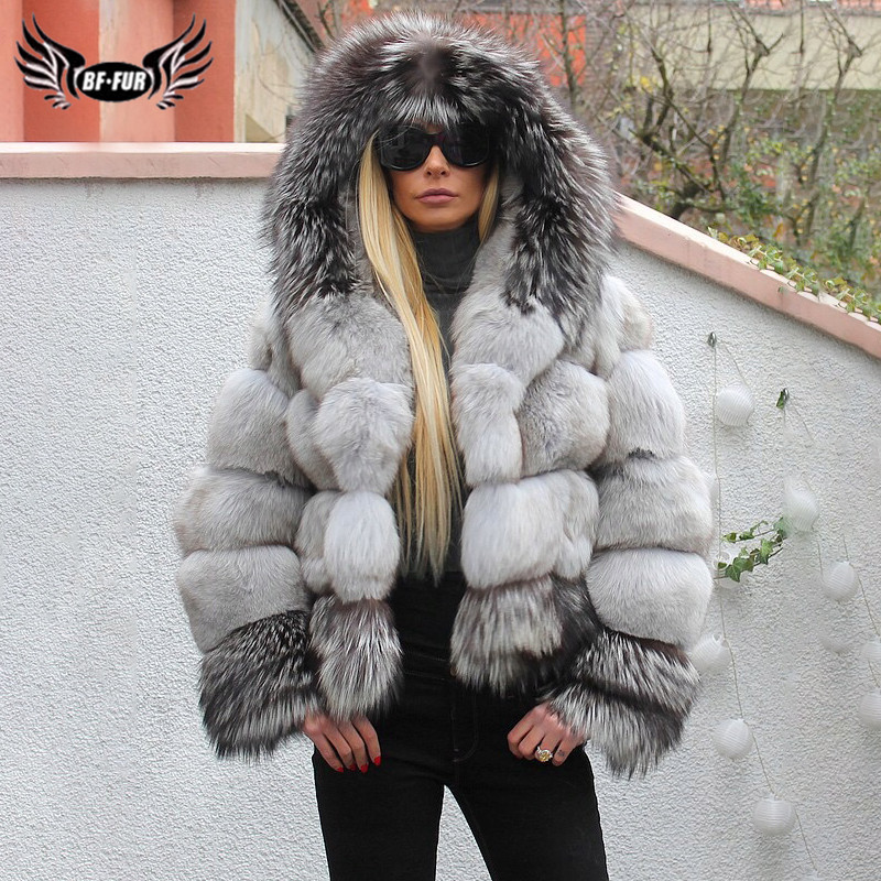 Women Winter Fashion Real Fox Fur Coat With Hood Stitching Natural Sliver Fox Fur Jackets Thick Warm Natural Fur Coats Female