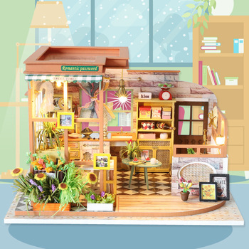 Wooden Miniature Dollhouse Kit Diy Handmade Model Simplicity Flower Room Christmas Gift Toys For Kids Adult Doll House Furniture sylvanian families house diy dollhouse blue times handmade house wooden toys dolls house furniture kids toys juguetes brinquedos