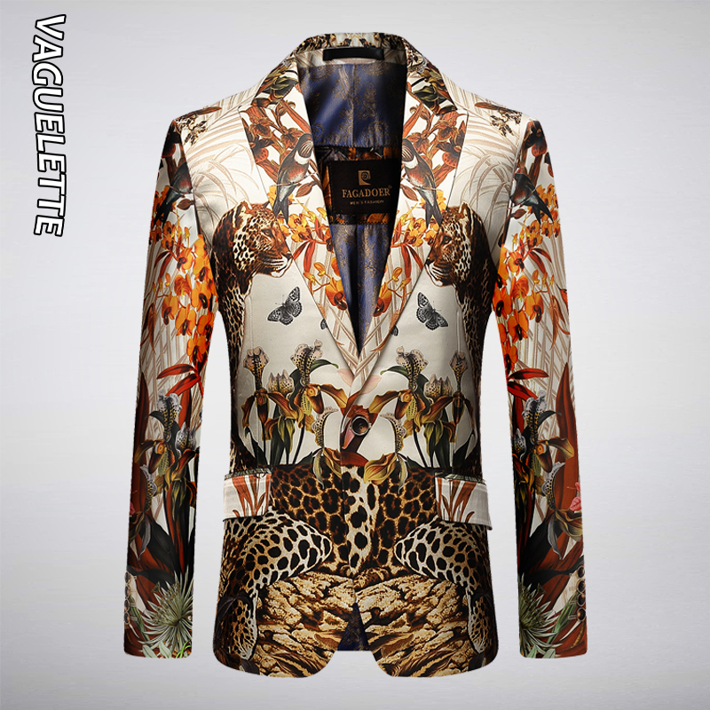 VAGUELETTE Leopard Pattern Jungle Printed Stylish Blazer Men Fashion Novelty Slim Fit Stage Wear For Singers Party Jacket Coat
