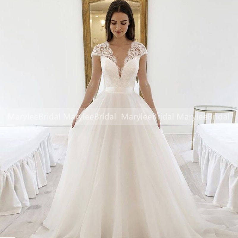 Cap Sleeves Wedding Dresses Cropped Deep V-neck White Bridal Dress With France Lace Princess A-line Robe De Mariée Tailor Made