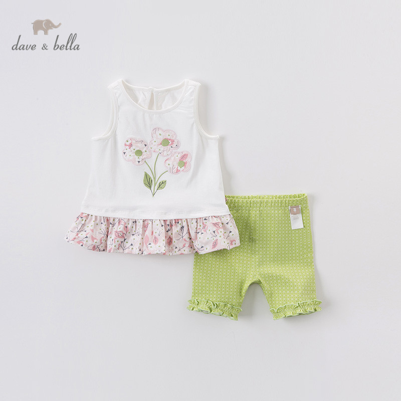 DBA12566 Dave Bella Summer Baby Girls Fashion Floral Print Ruched Clothing Sets Kids Cute Sets Children 2 Pcs Suit