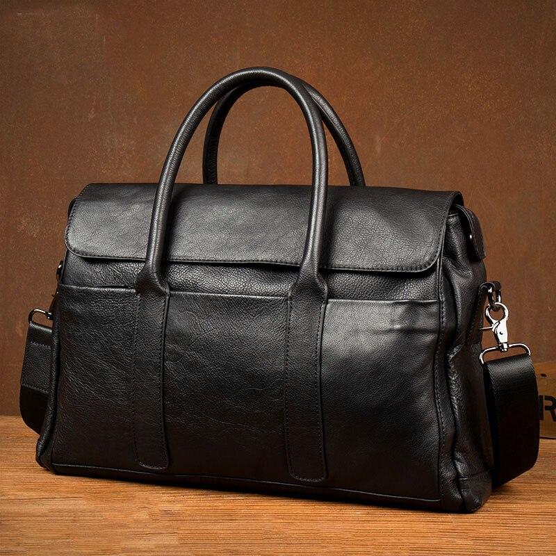 2019 New Genuine Leather Briefcase Men Bag Business Handbag Male Laptop Shoulder Bags Tote Natural Skin Men Briefcase
