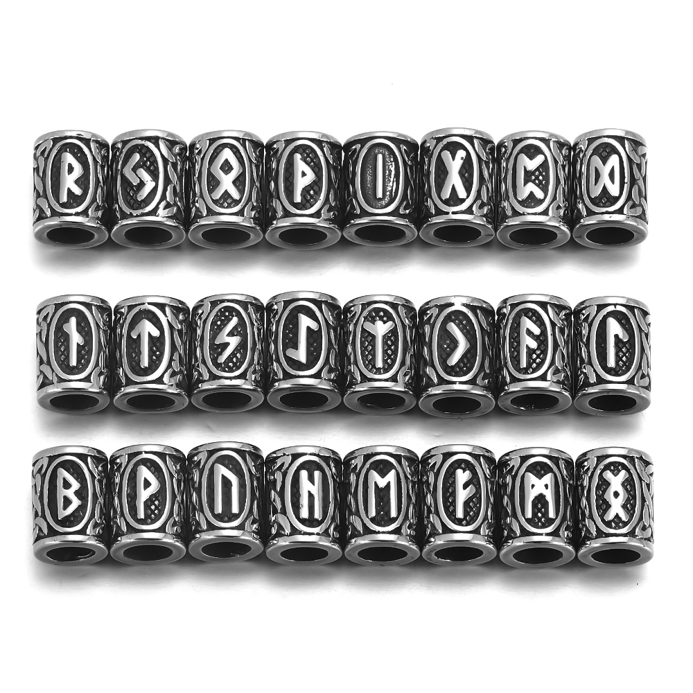 24 шт. Руна викингов бусины из нержавеющей стали для бороды с большим отверстием 6 мм 8 мм Старший ФУТАРК ювелирные изделия браслет сделай сам поставки Бусины      АлиЭкспресс