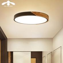 Moderne Led Plafond Licht Ultra Dunne Lamp Houten Verlichting Armatuur Oppervlak Mount Woonkamer Home Decor Balkon Afstandsbediening