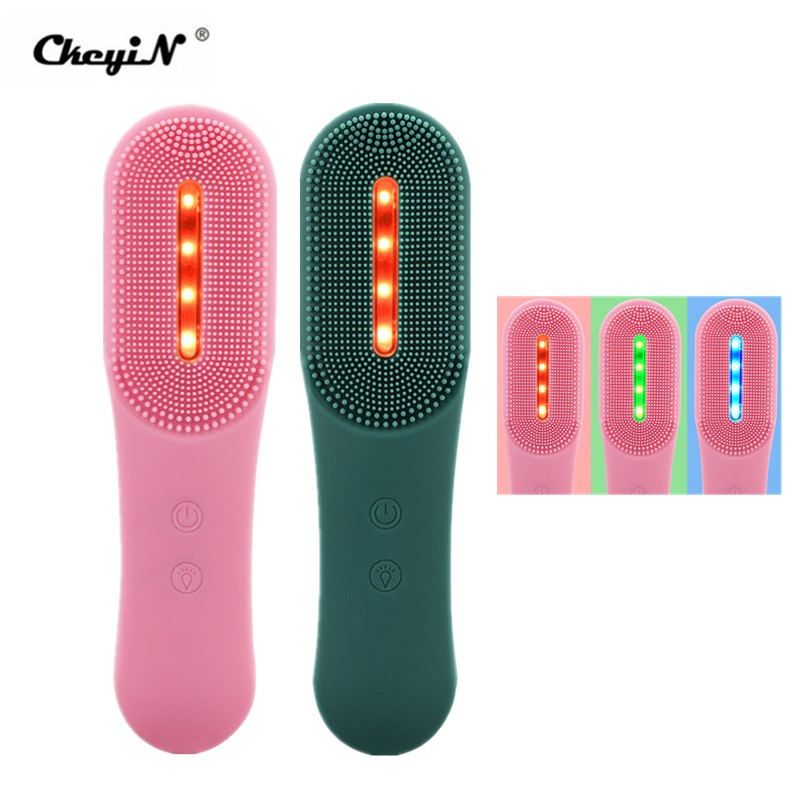CkeyiN Electric Facial Cleansing Brush 3 LED Photon Silicone Sonic Face Brush Deep Cleansing Exfoliating Removing Blackhead 48 Powered Facial Cleansing Devices  - AliExpress