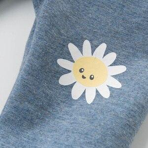Image 3 - Dbz14395 dave bella primavera do bebê meninas moda dos desenhos animados calças florais crianças de comprimento total calças infantis da criança