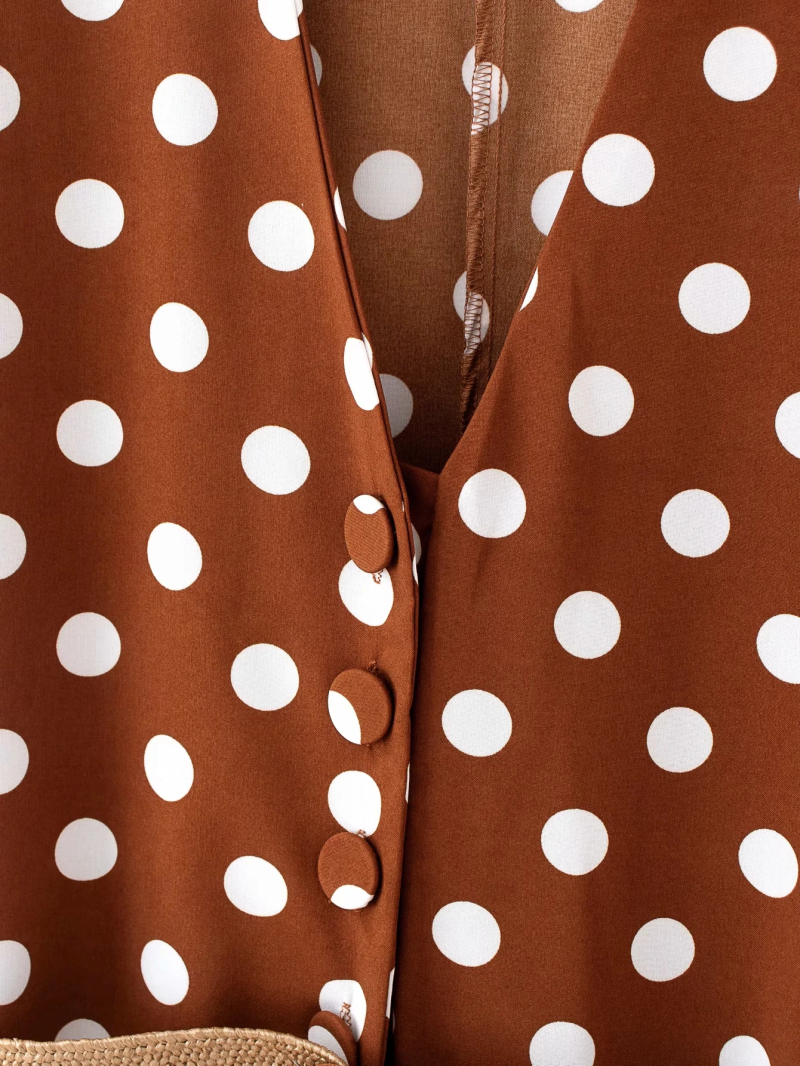 H681555ae48e24eb6b5a00b41af288943q - Elegant women polka dots looses jumpsuits with belt summer fashion ladies vintage boho rompers female chic jumpsuit girls