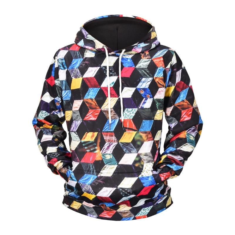 Men Autumn Hip Hop Sweatershirts Pullover Hoody M-3XL Size 3D Print Plaid Unisex Loose Casual Hoodies Coat