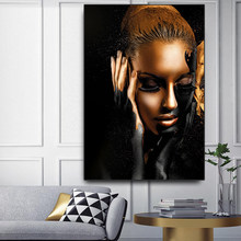 Woman sitting room wall painting black gold naked scandinavians African art canvas painting posters and print images