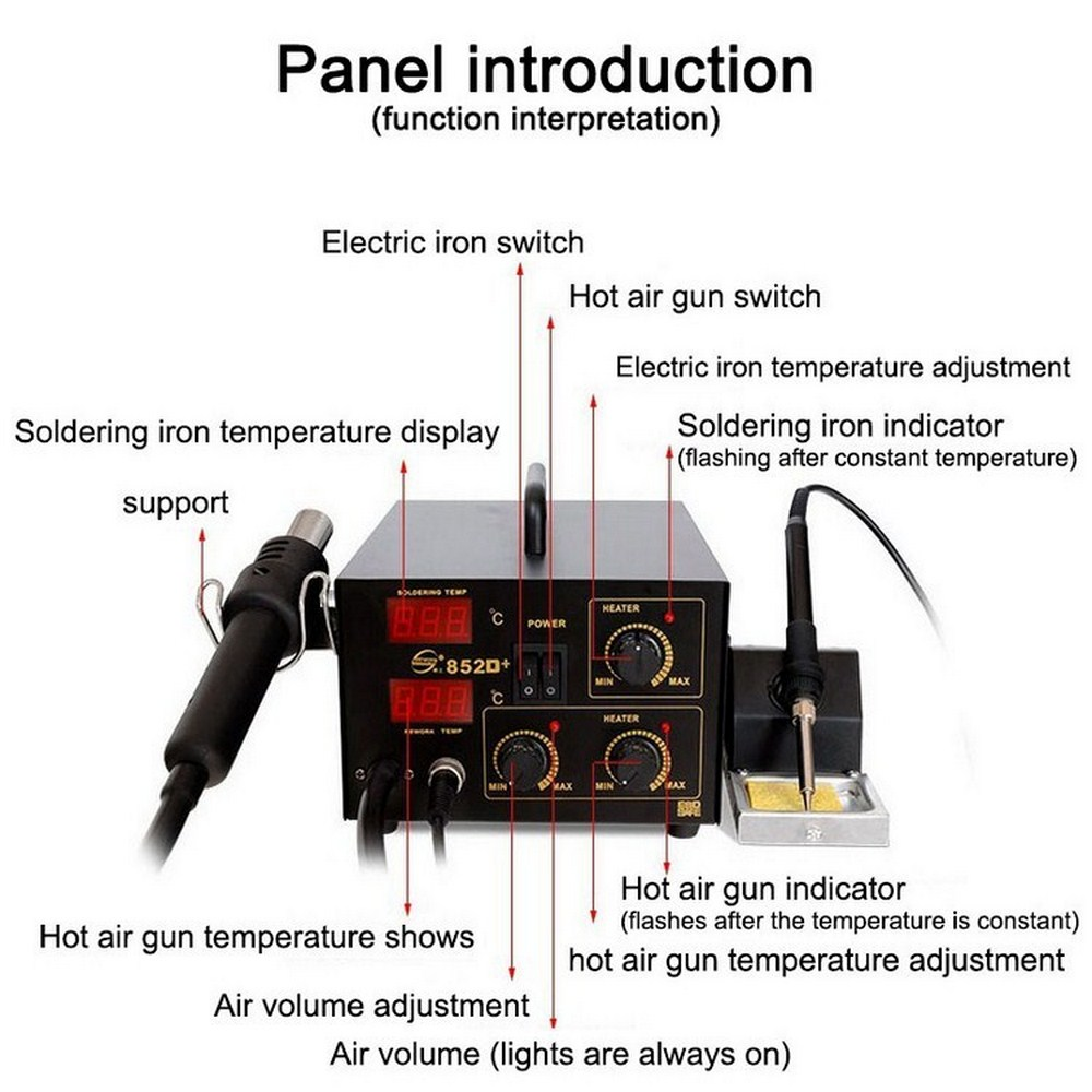 600W Electronic Soldering Iron Holder Build in Air Pump Hot Air Gun Digital Temperature Display Soldering Station Welding Iron