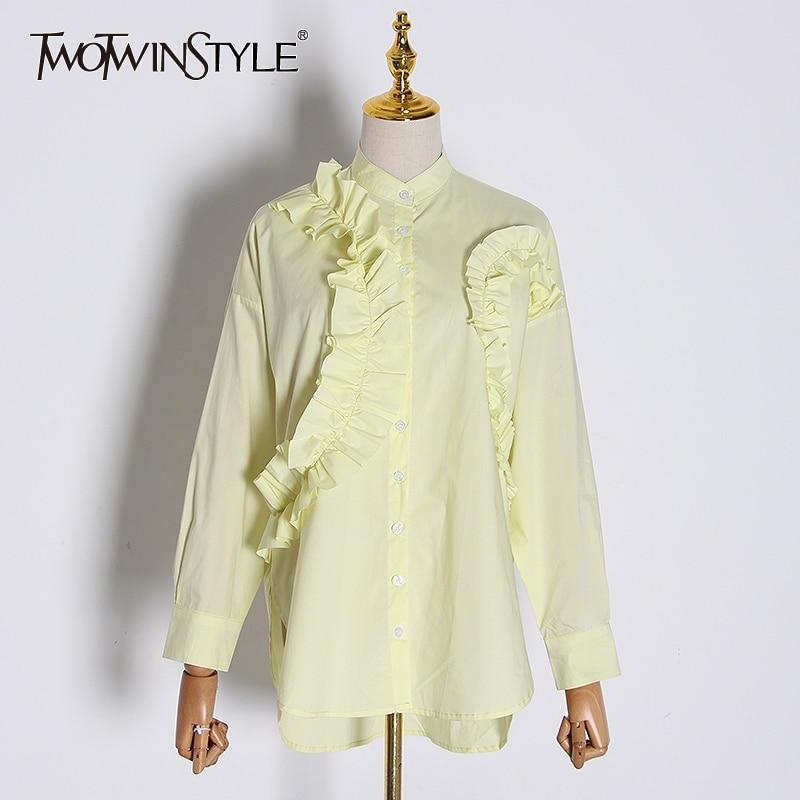TWOTWINSTYLE Asymmetrical Patchwork Ruffles Women' Blouses Stand Collar Lantern Long Sleeve Loose Irregular Female Shirt Fashion