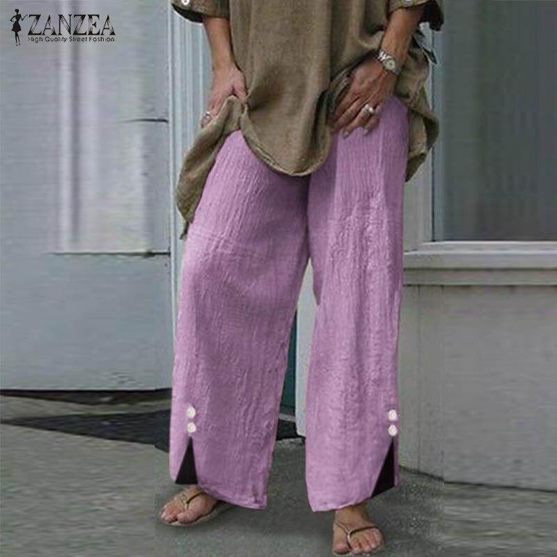 Plus Size ZANZEA   Pants   Women 2019 Autumn Vintage Botton   Wide     Leg     Pants   Pantalon Femme Long Trousers Casual Work Streetwear S-5XL