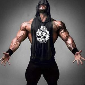 Nowa siłownia czystej bawełny kamizelka męska top moda sport bez rękawów z kapturem męska cienka gorilla kamizelka szybkoschnący koszula 2020
