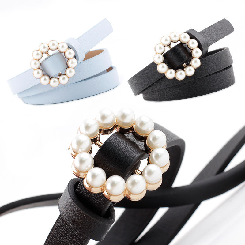 Women Pearls Beading O-Ring Buckle   Belts   PU   Belt   For Womens Dress New Fashion Accessories Black Leather Luxury Brand