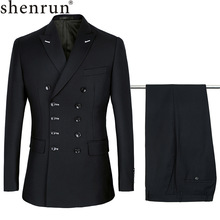 Men Suits Costume Groom Slim-Fit Lapel Wedding Black Double-Breasted New-Fashion Peak