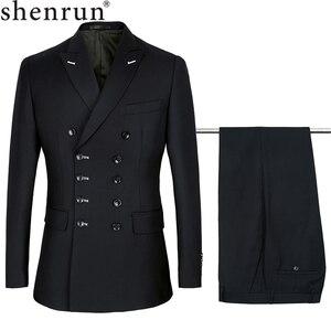 Image 1 - Shenrun גברים חליפות Slim Fit חדש אופנה חליפת טור כפתורים כפול שיא דש חיל הים כחול שחור חתונה חתן מסיבת נשף סקיני תלבושות