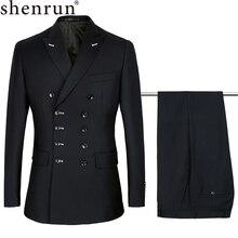 Shenrun trajes ajustados para hombre, traje de moda de doble botonadura, solapa máxima, azul marino, negro, para boda, novio, fiesta, graduación, traje ajustado
